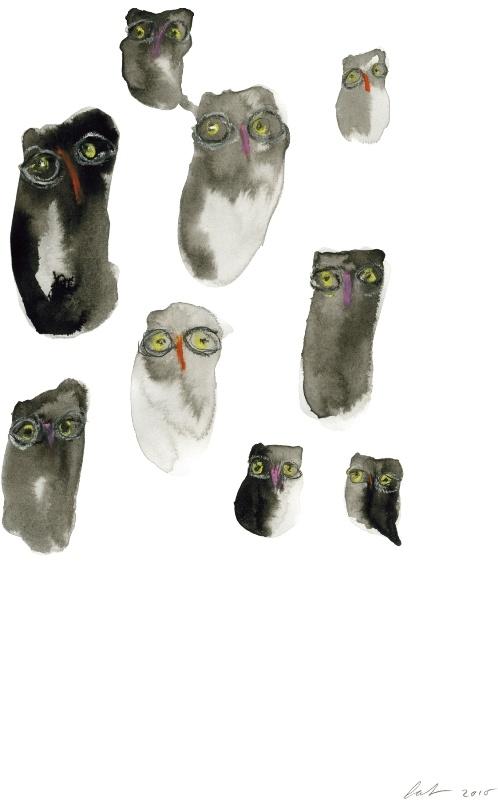 """Pia Simensen """"ugglor"""" print: Owl Collections, Illustrations, Loved Illustration, Illustration Inspiration, Illustration Ugglor"""