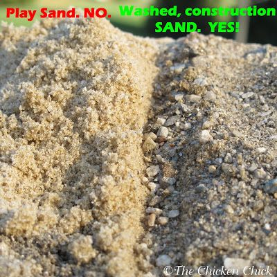 Sand. Bedding option for coop floor. Drier. Better temperature control. Cleaner. Easier to clean. Need to clean out less often. Ideal for chickens to have a dust bath in, regardless of the weather.