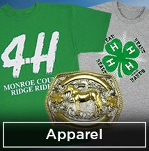 Kids choose for fair  Official 4-H shirts, sweatshirts, jewelry, 4-H belt buckles, and more