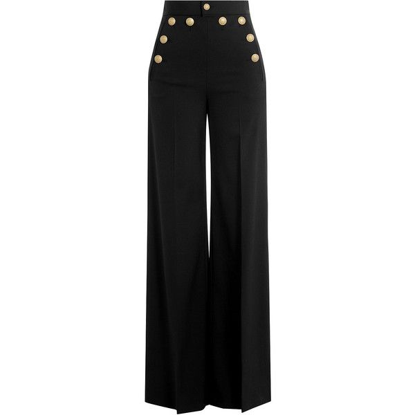 R.E.D. Valentino Wide Leg Sailor-Style Pants ($385) ❤ liked on Polyvore featuring pants, bottoms, calças, jeans, trousers, black, high rise pants, sailor button pants, high-waisted trousers and sailor pants
