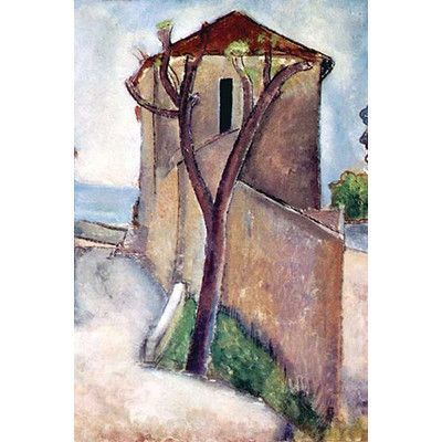 "Buyenlarge 'Tree and House' by Amadeo Modigliani Painting Print Size: 36"" H x 24"" W"