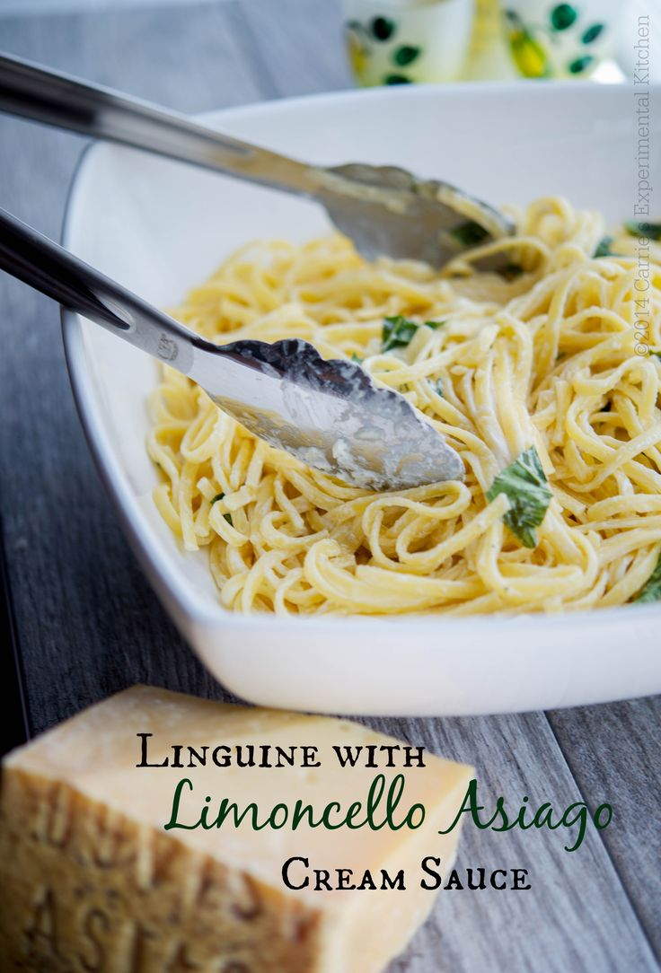 Linguine with Limoncello Asiago Cream Sauce | Carrie's Experimental Kitchen #asiagocheese #pasta #asiagocheesepdo