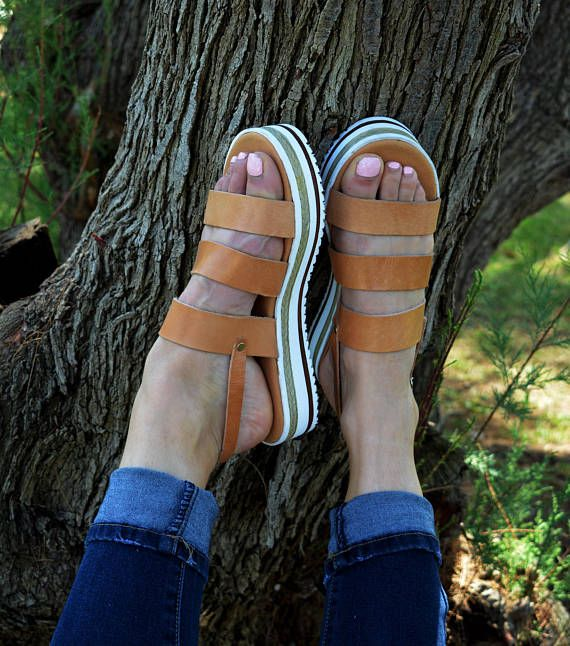 Women's Greek leather sandal, Strappy sandals, Leather platform sandals, Boho sandals, Natural color sandals, sandals ''Triada''