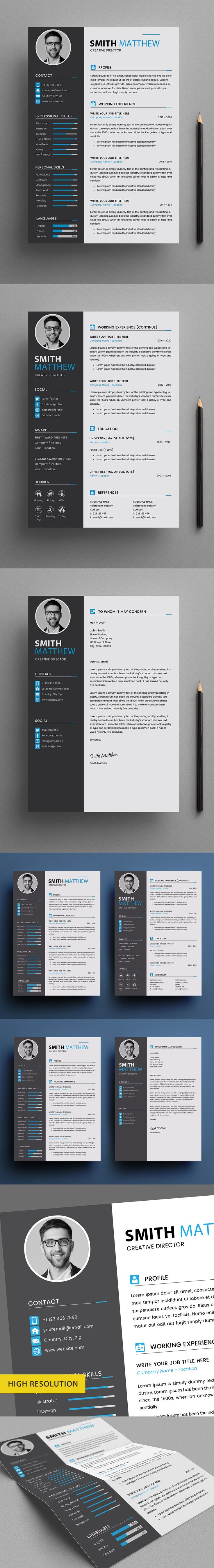 Free CV Resume Templates + Cover Letter (PSD) in 2020 Cv