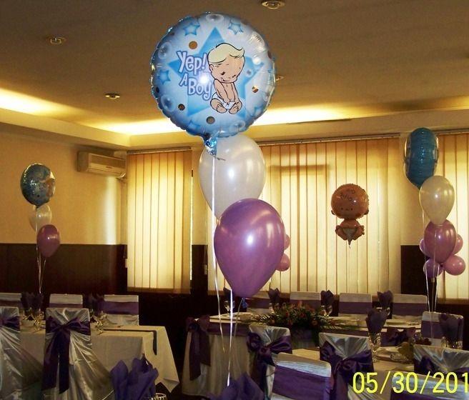 Buchet realizat din baloane umflate cu Heliu pentru mesele invitatilor.  Se poate face din 3-5 baloane latex sau 2-4 latex si un balon folie.
