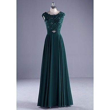 Formal Evening Dress Ball Gown Scoop Floor-length Chiffon / Lace / Charmeuse withBeading / Lace / Pearl Detailing / Ruffles / Sash  - USD $ 89.99