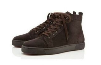 Christian Louboutin Louis Flat Men Sneakers Chocolate Red Bottom Shoes