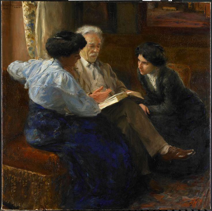 Alphons Marie Antoine Joseph Grandmont (1837-1909). Tweede echtgenoot van de schilderes, lesgevend aan twee Italiaanse meisjes