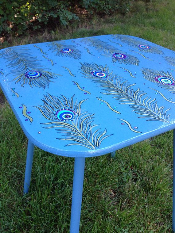 BoHo Style Peacock Accent Table by BoHoExpressions on Etsy, $85.00
