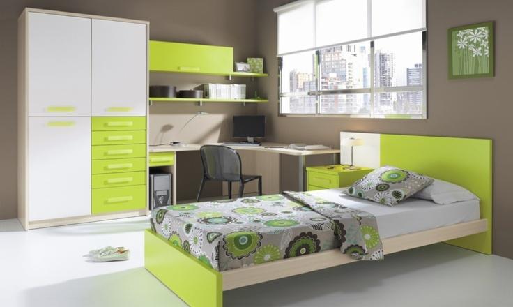 17 best images about dormitorios juveniles on pinterest - Chambre ado vert ...