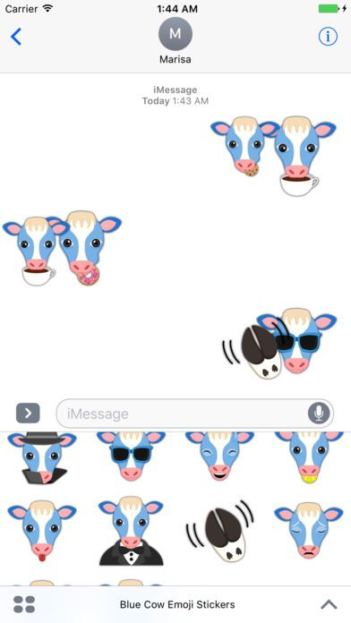 Sweet Blue Cow Emoji Stickers by Marisa Marquez