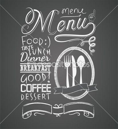 Illustration of a vintage graphic element for menu on blackboard