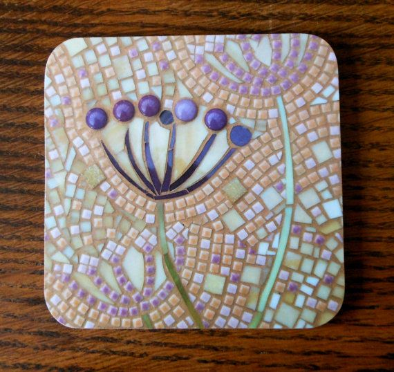 COASTER Mosaic Seed Heads Coaster - Mosaic Art - Purples Cow Parsley