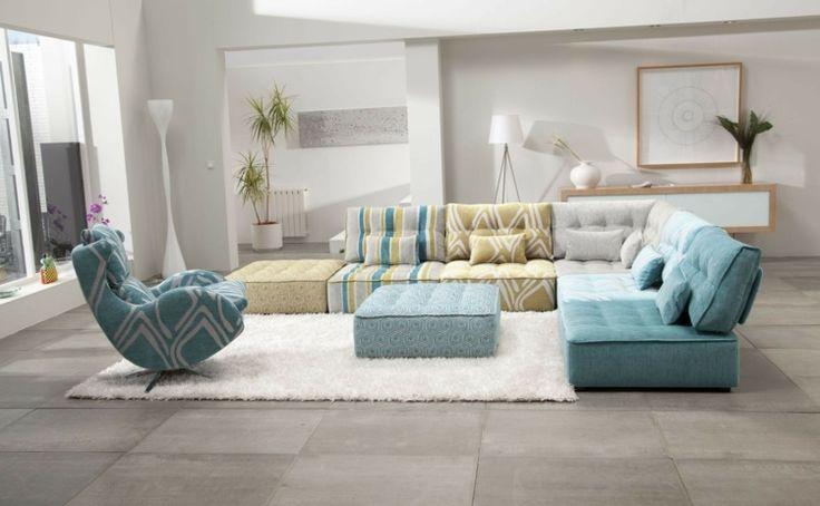 Modulare Wohnzimmer Sofa Sets in hellen Farben