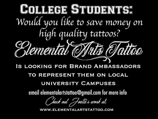 Active at your local college? Interested in tattoos? A few lucky participants will be chosen to be brand ambassadors at their local colleges to spread the word on where to get tattooed! For more info please email: elementalartstattoo@gmail.com  #ctink #elementalartstattoo #tattoosbyjoelle #college #ctcollege #brandambassador #brandambassadorswanted #tattoo #tattooed #ink #inked #collegelife #cttattoo #uconn #trinitycollege #uhart #easterncollege #ccsu