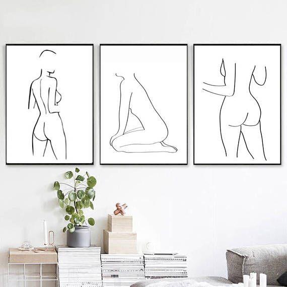 Woman Art 3 Set Print Pink Gray Wall Art Bedroom Decor Figure Art Print Body Poster Downloadable Print NudeArt Female Form Art Woman Artwork – Michael Trakhimovich