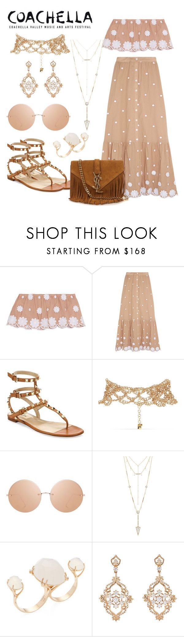 """""""Coachella 2017 #5"""" by hemmo1drauhl ❤ liked on Polyvore featuring Miguelina, Valentino, Rosantica, Linda Farrow, House of Harlow 1960, Vianna B.R.A.S.I.L, Sara Weinstock and Yves Saint Laurent"""