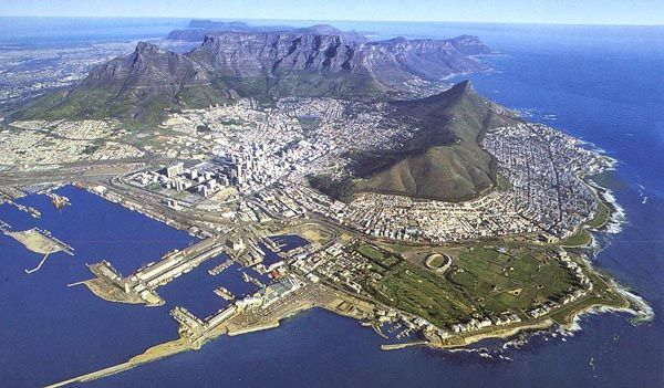 Aerial of Cape Town from the north showing the City Bowl backed by Table Mountain