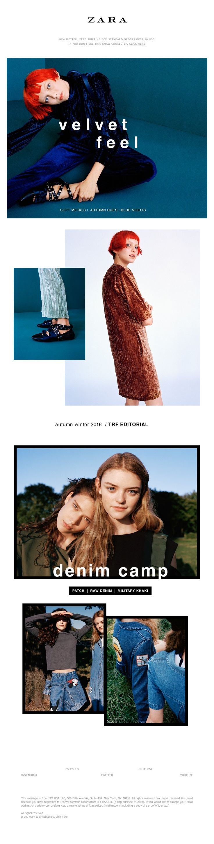 ZARA - TRF velvet feel | denim camp. New editorials