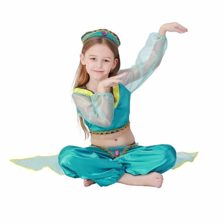 Aladdin's Lamp Girls Jasmine Princess Costumes Cosplay For Children Halloween Party Belly Dance Dress Indian Princess Costume
