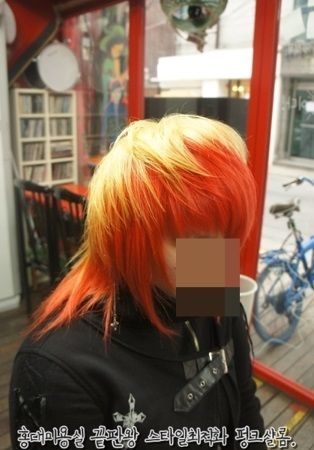 Punkshalom,color,two-tone color,visual rock punk style,bleach,dyeing,lonh layer hair