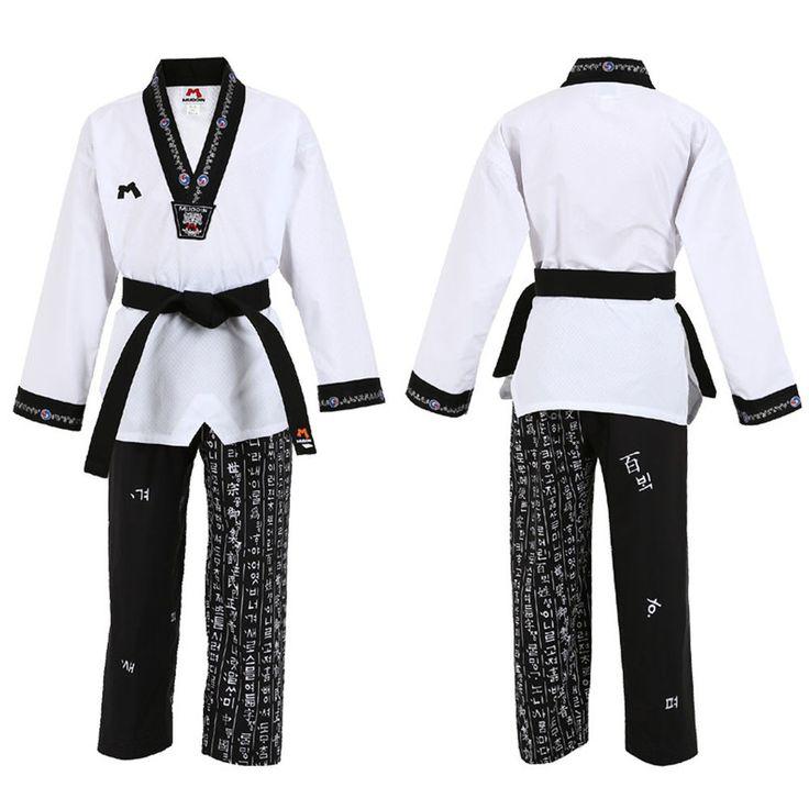 Hangul V neck Uniforms Taekwondo Doboks Suits Korean Letters TKD MMA Hunmin Gift #MDI