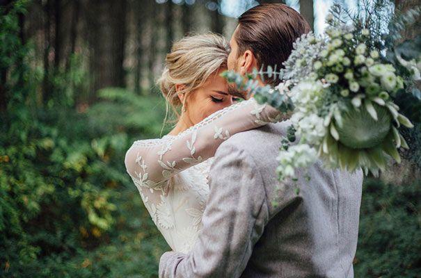 RACH + COLE // #wedding #realwedding #bride #groom #lace #ruedeseine #sleeve #gown #dress #natives #bouquet #green #flowers