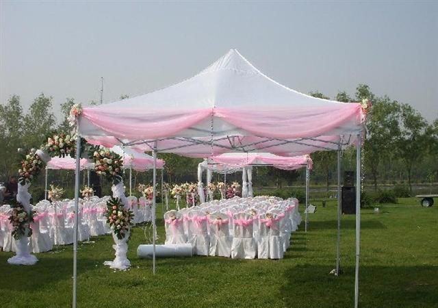 Tent tent decorations and 10x10 tent on pinterest for Outdoor party tent decorating ideas