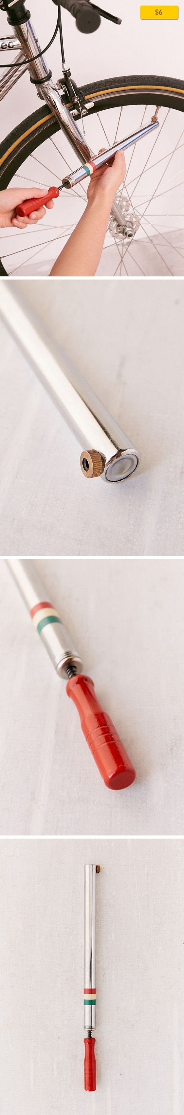 Kikkerland Design Fiests Bike Pump Apartment, Fun + Games, Novelty + Gifts   With charming vintage style + modern functionality, this slim, compact bike pump by Kikkerland Design is easy to take with you everywhere. Pack it and never worry about a flat again! Makes an exquisite gift for all the cyclists in your life. Pumps up to 90psi. Content + Care - VDP-coated aluminum alloy - Wipe clean - Impo...
