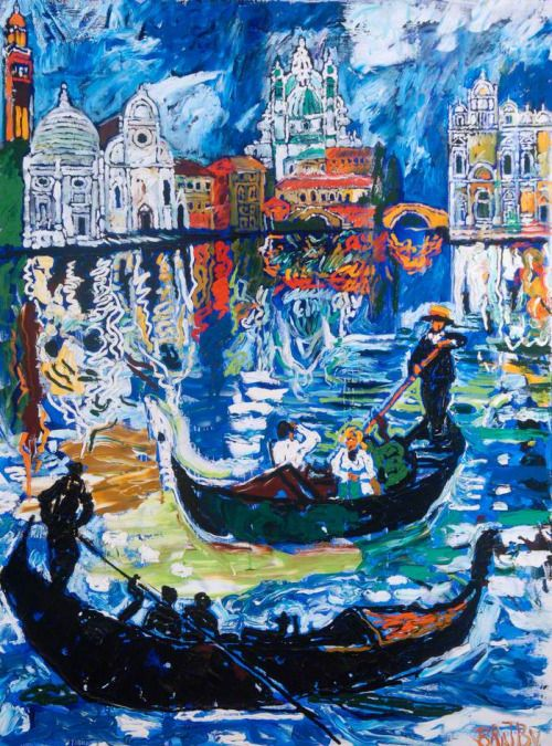 BRATBY, John British (1928-1992)_Venice Scene and Traghetto, Italy