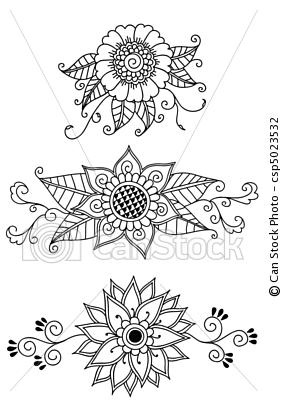 Vector - Henna Flowers - stock illustration, royalty free illustrations, stock clip art icon, stock clipart icons, logo, line art, EPS picture, pictures, graphic, graphics, drawing, drawings, vector image, artwork, EPS vector art
