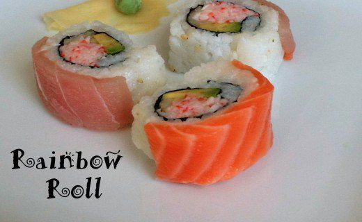 A rainbow roll is a sushi roll topped with many different types of sashimi.  The sushi roll underneath the sashimi is usually a California roll (avocado and crab).  To make this type of sushi, the chef prepares a California roll and adds the toppings afterwards.