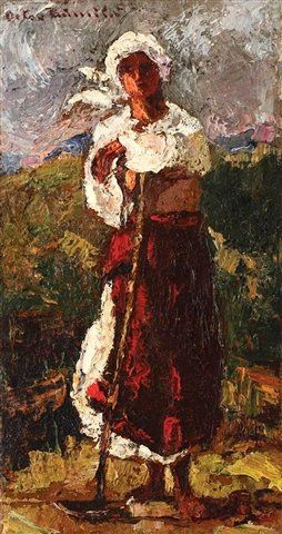https://flic.kr/p/ar2HGA | Bancila, Octav (1872-1944) - Young Peasant (Private Collection) | Oil on canvas;    37.5 x 20 cm.  Octav Băncilă was a Romanian realist painter and left-wing activist.  After completing primary school, he entered the Fine Arts School in Iaşi, where he was taught by Gheorghe Panaiteanu Bardasare, Constantin Daniel Stahi, and Emanoil Bardasare, graduating in 1893. Between 1894 and 1897, he lived and studied abroad on a scholarship: first in Italy and France, and…