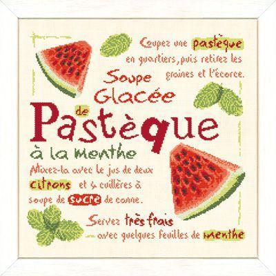 Lilipoints - les recettes au point de croix - la soupe glacée de pastèque à la menthe.