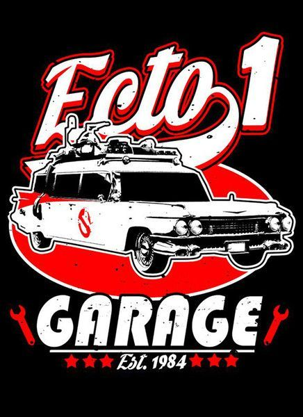 Ecto 1 Garage T-Shirt - Ghostbusters T-Shirt is $12.99 today at Pop Up Tee!