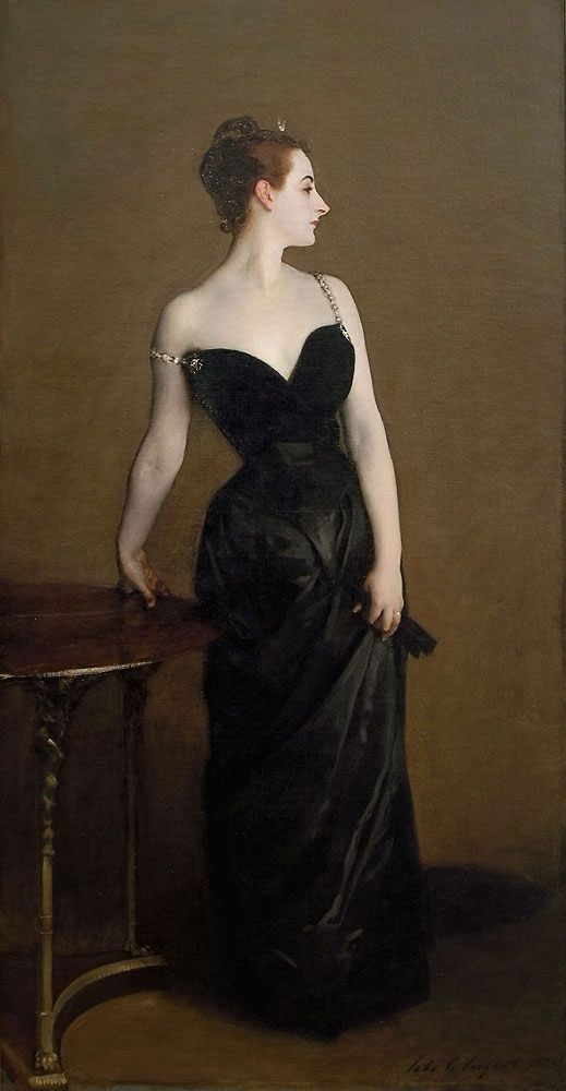 """John Singer Sargent's """"Madame X"""" as it might have originally been painted. This painting ruined the reputation of its subject."""