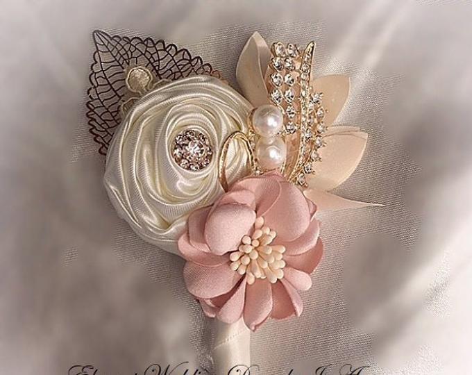 Ready to ship boutonniere fabric boutonniere Ivory brooch boutonniere,ivory champagne boutonniere