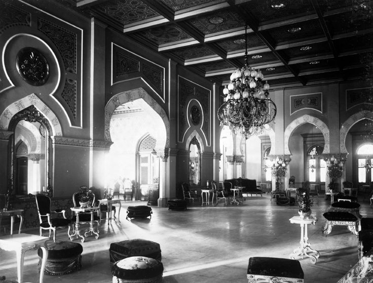 1890-1894: Room at the 'Istana Maimun', the palace of the Sultan of Deli
