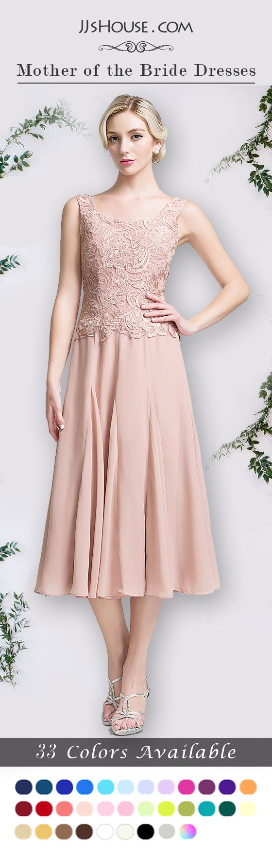 A-Line/Princess Square Neckline Tea-Length Chiffon Mother of the Bride Dress, for spring, summer & fall wear. #JJsHouse