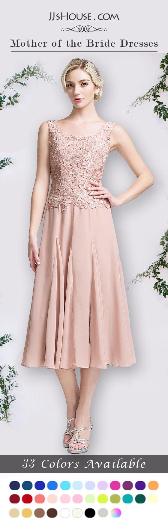 A-Line/Princess Square Neckline Tea-Length Chiffon Mother of the Bride Dress, for spring, summer & fall wear. #JJsHouse