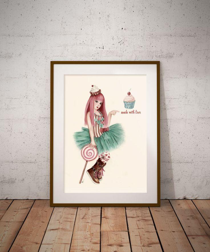 Candy girl Vintage, Cup cake girl, Lollipop art, Digital download, Digital print, Teenage girl Wall Decor, Printable art, Digital art by DreamBigArtDesign on Etsy