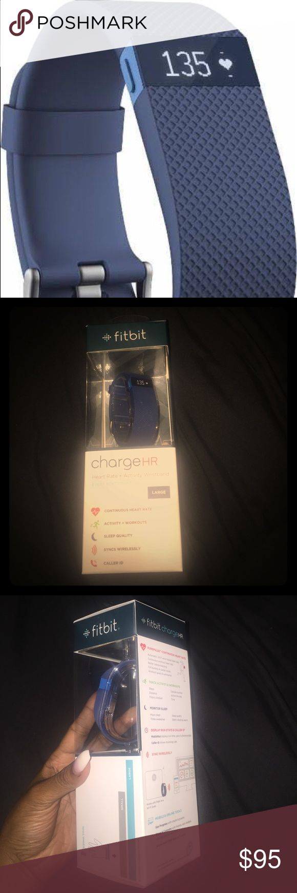 Blue Fitbit Blue charge HR Fitbit brand new ! Heart rate and activity wristband ! Size large ! Make an offer ! fitbit Jewelry Bracelets