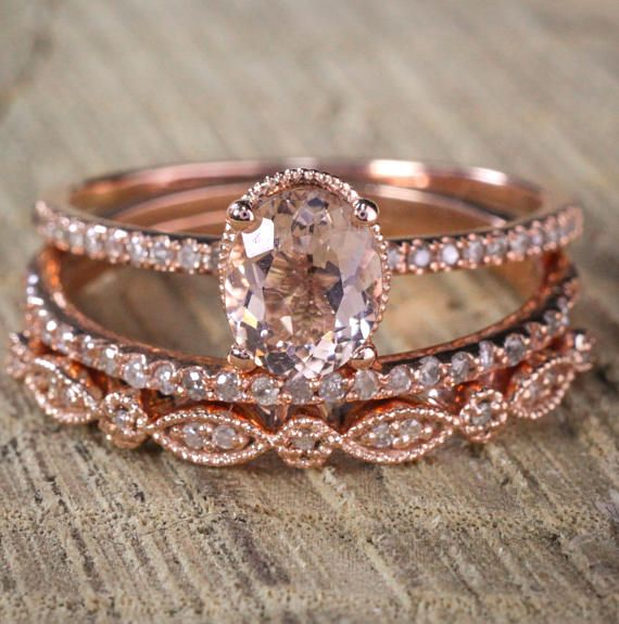 Sale 2 carat Antique Milgrain Oval Shape Morganite & Diamond Trio Ring Set in 10k Rose Gold with One Halo Engagement Ring 2 Wedding Bands
