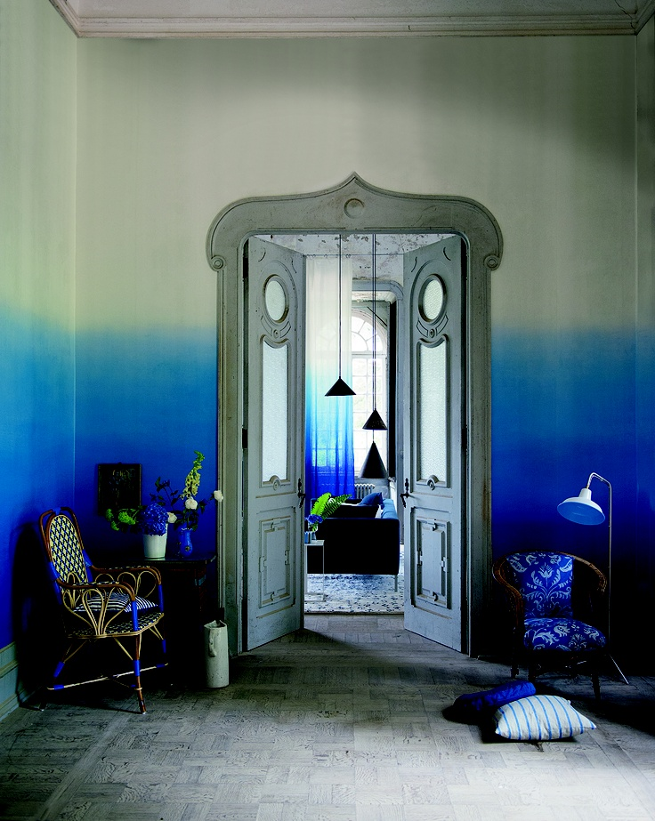 Saraille Wallcovering in powerful cobalt