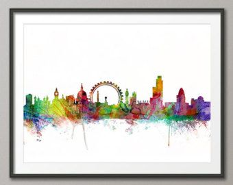 Londen Skyline Cityscape Londen Art Print 282 van artPause op Etsy