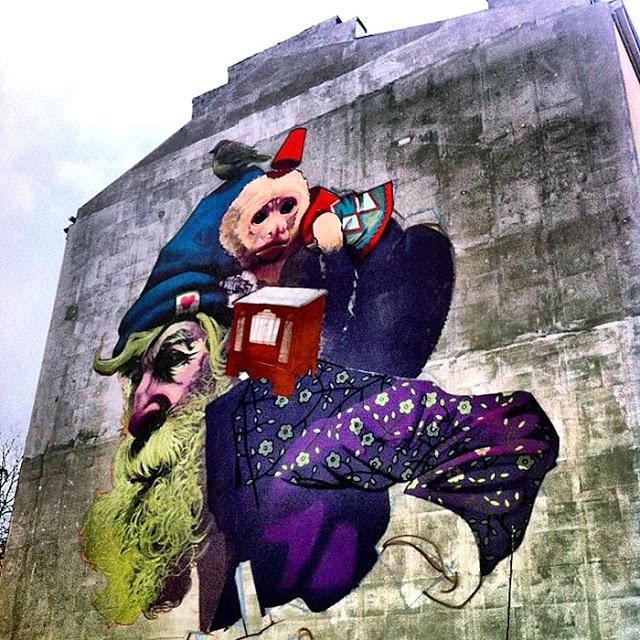 Sainer x Bezt New Mural In Progress, Warsaw, Poland StreetArtNews