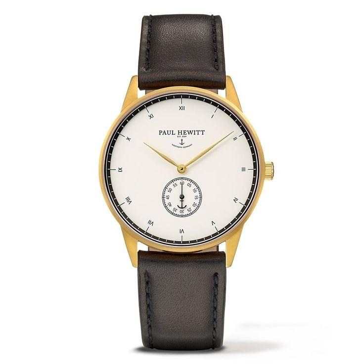 PAUL HEWITT Signature Line Watch Nautical Gold Mark White Ocean Leather Classic Black PH-M1-G-W-2M - Kultatähti.fi verkkokaupasta