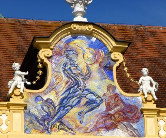This is the Picture on the facade of the Church of Melk Abbey.   http://blogs.yahoo.co.jp/whfsc363/66128602.html