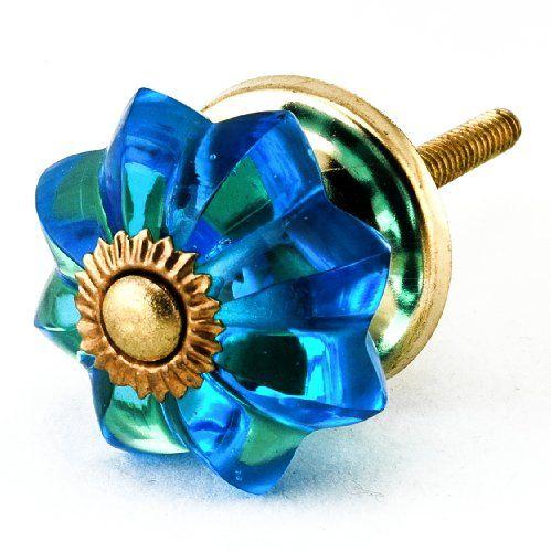 Marine Blue Glass Cabinet Drawer Knob Set 2pc Kitchen Pulls & Handles