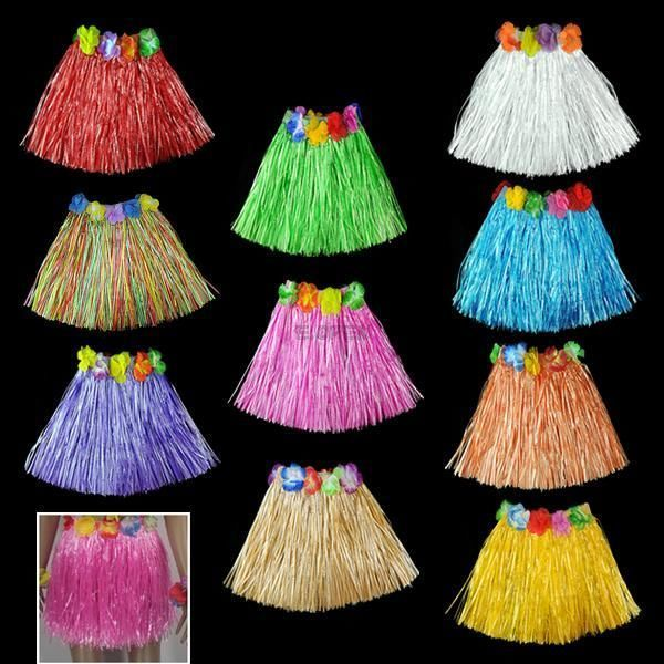 10pc Hawaiian Tropical Hula Luau Grass Skirts Party Favor Birthday Supply for the kids